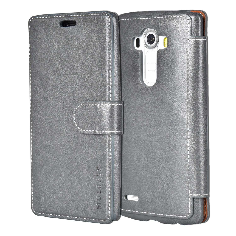 Mulbess LG G4 Wallet Case - LG G4 Leather Case PU - Ultra Slim - Credit Card Slot - Leather Flip Case for LG G4 - Gray
