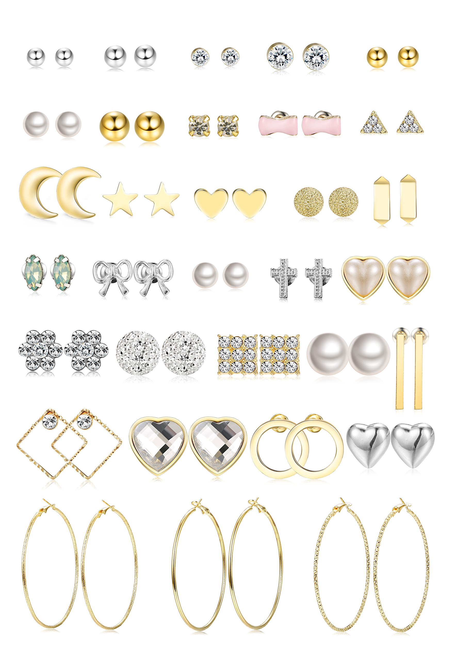Jstyle 32 Pairs Assorted Multiple Stud Earrings for Women Girls Simple Cute Big Hoop Earrings Set