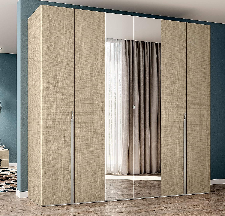 Klipick - Armario de 6 puertas con espejo. Dimensiones: longitud 255 cm, profundidad 56 cm, altura 240 cm.: Amazon.es: Hogar
