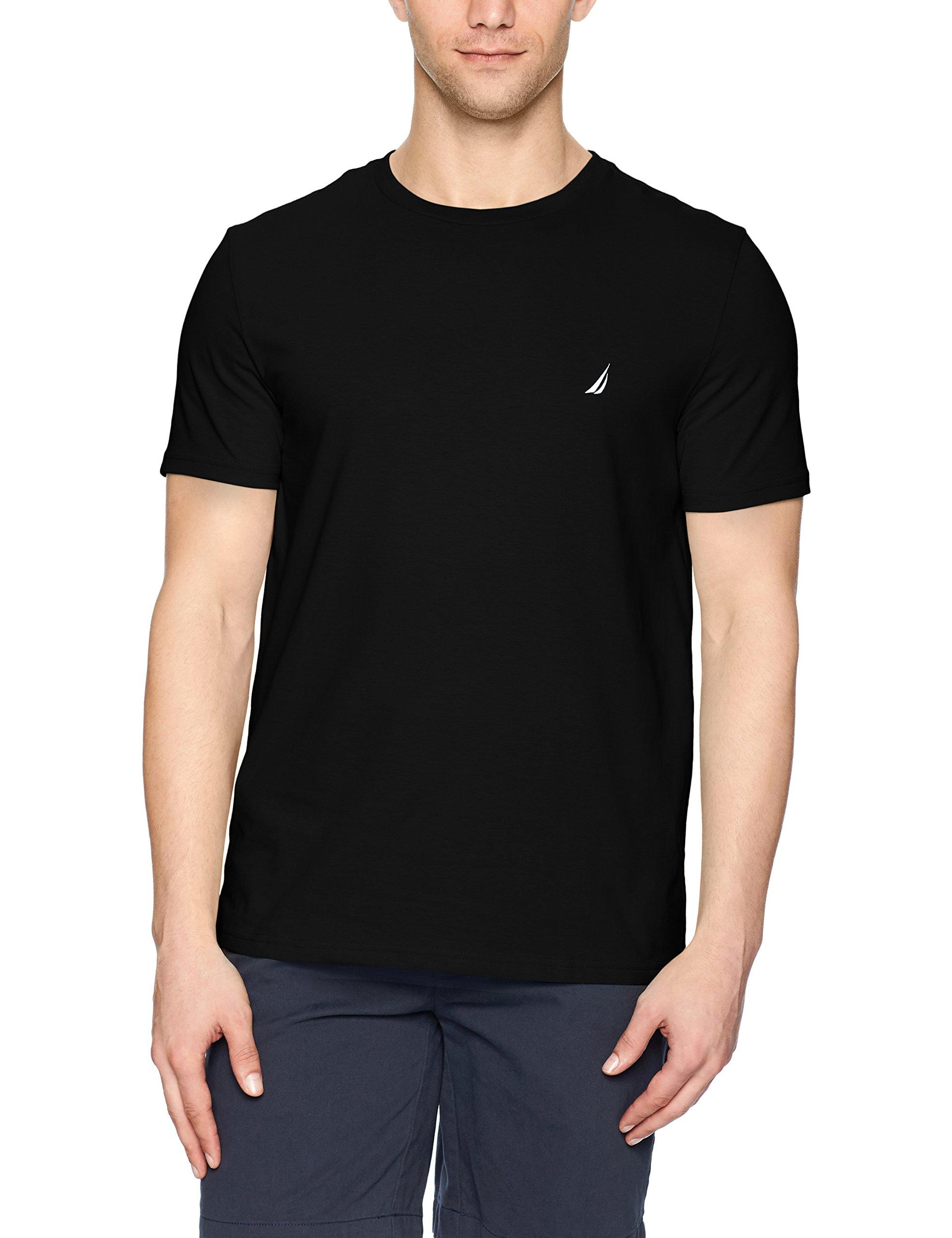 Nautica Men's Short Sleeve Solid Crew Neck T-Shirt, True Black Solid, Large