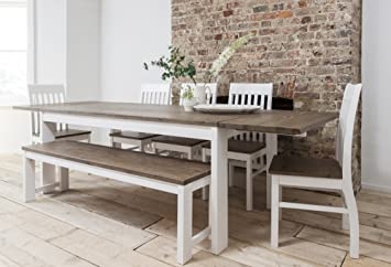 Hever Dining Table With 5 Chairs U0026 Bench In White And Dark Pine Extendable  With 2