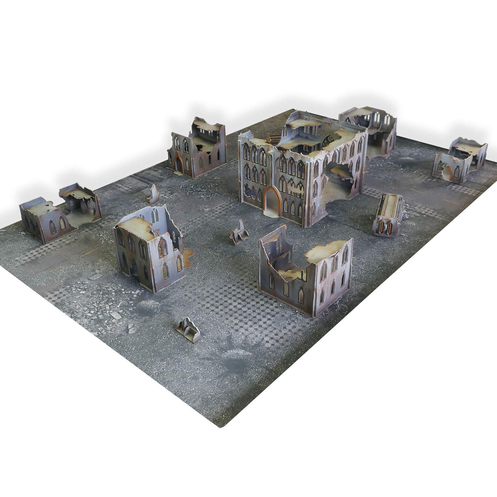 Frontline Gaming - ITC Terrain - Gothic Ruins ITC Standard Set with Mat- Tabletop Miniatures Wargame 28mm Scenery Terrain