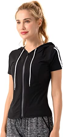 YOGILITY Women's Short Sleeve Full Zip Hoodie Sweatshirts Workout Yoga Running Jersey Casual Tops