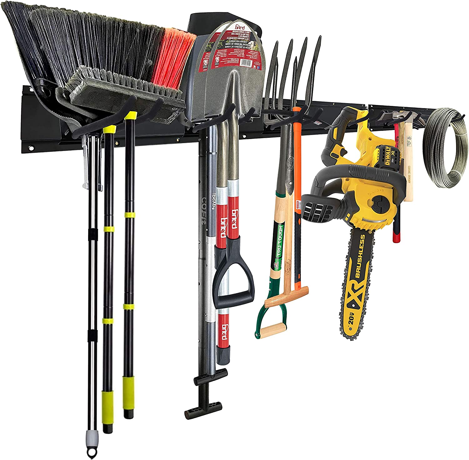 Garage Tool Organizers Storage Wall Mounted with 6 Removable Hooks and 3 Board, Super Heavy Duty Powder Coated Steel Garden Tool Hanger Rack for Bike, Chair, Broom, Mop, Rake Shovel & Tools