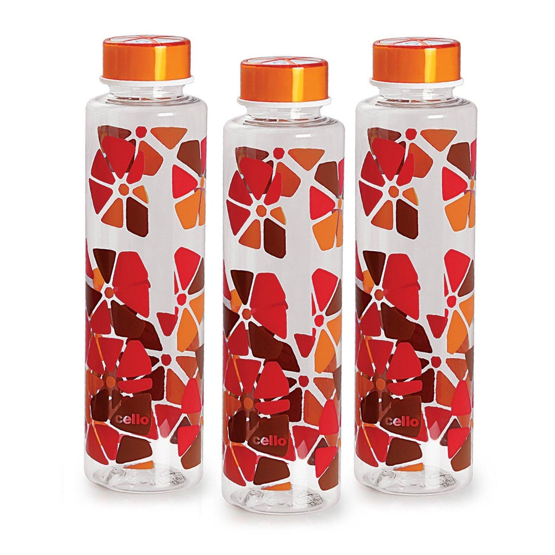 Cello Contempo PET Bottle Set, 1 Litre, Set of 3, Orange