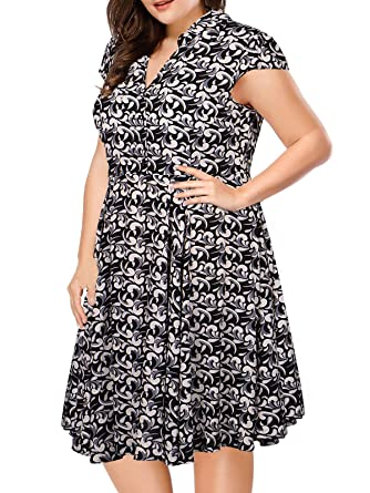 LUOUSE Women\'s Plus Size Vintage 1950s Retro Rockabilly Prom Dresses ...