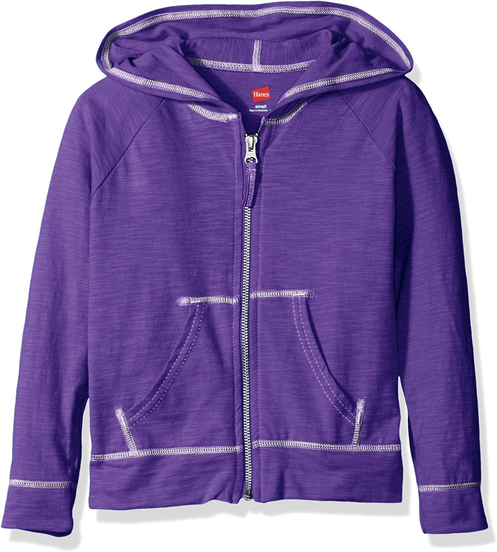 Hanes Little Girls' Slub Jersey Full Zip Jacket: Clothing