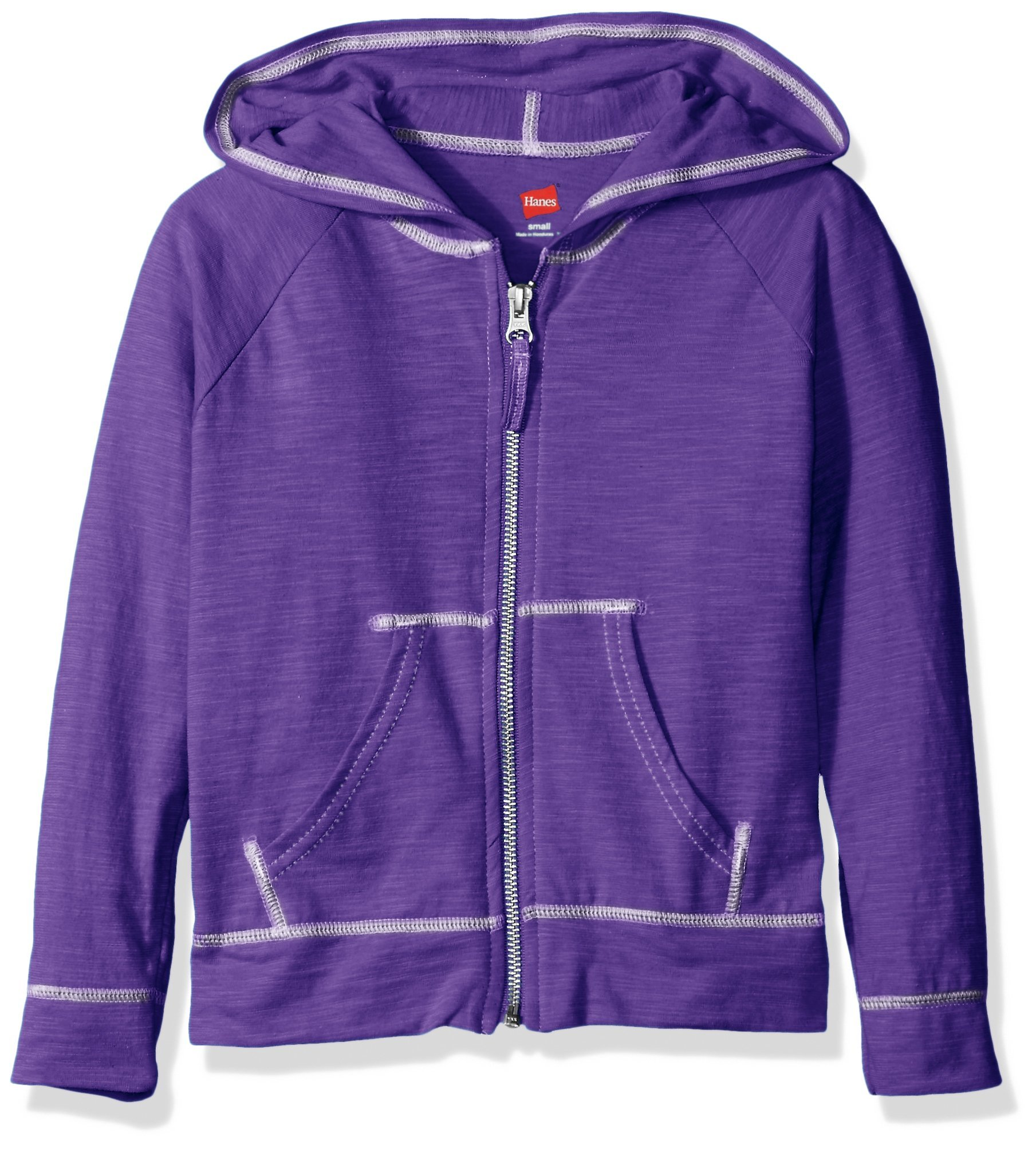 Hanes Little Girls' Slub Jersey Full Zip Jacket, Purple Crush, Small