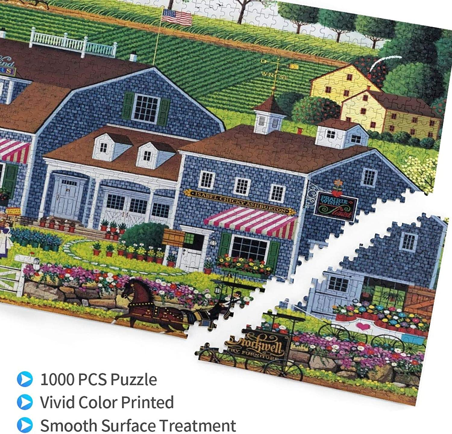 Prairie Wind Flowers Wooden Jigsaw Puzzles 1000 Pieces for Adults,Puzzles for Kids 1000 Piece Charles Wysocki Challenging Game Gift Toys for Adults Kids Teens Family Puzzles-29.5x19.7 Inch