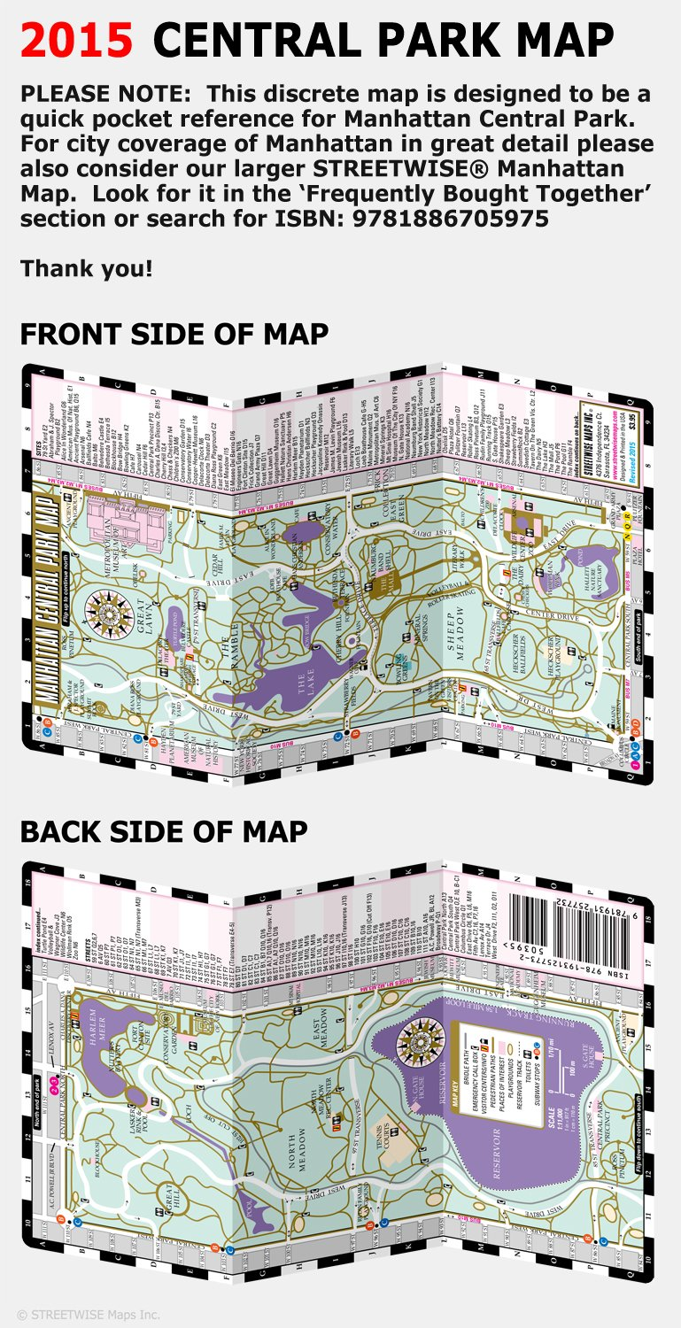 streetwise central park map laminated pocket map of manhattan