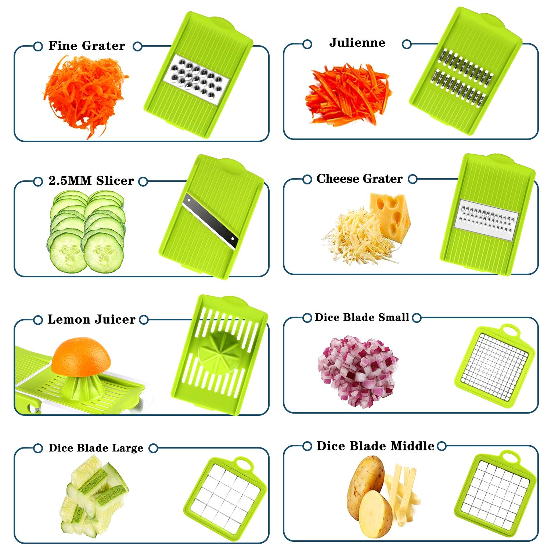Vegetable Chopper, ONSON Food Chopper Cutter Onion Slicer Dicer, 10 in 1 Veggie Slicer Manual Mandoline for Garlic, Cabbage, Carrot, Potato, Tomato, Fruit, Salad by ONSON (Image #2)