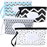 4 Pack Baby Wipe Dispenser,Portable Refillable Wipe Holder,Baby Wipes Container,Wipe Dispenser, Reusable Travel Wet Wipe Pouc