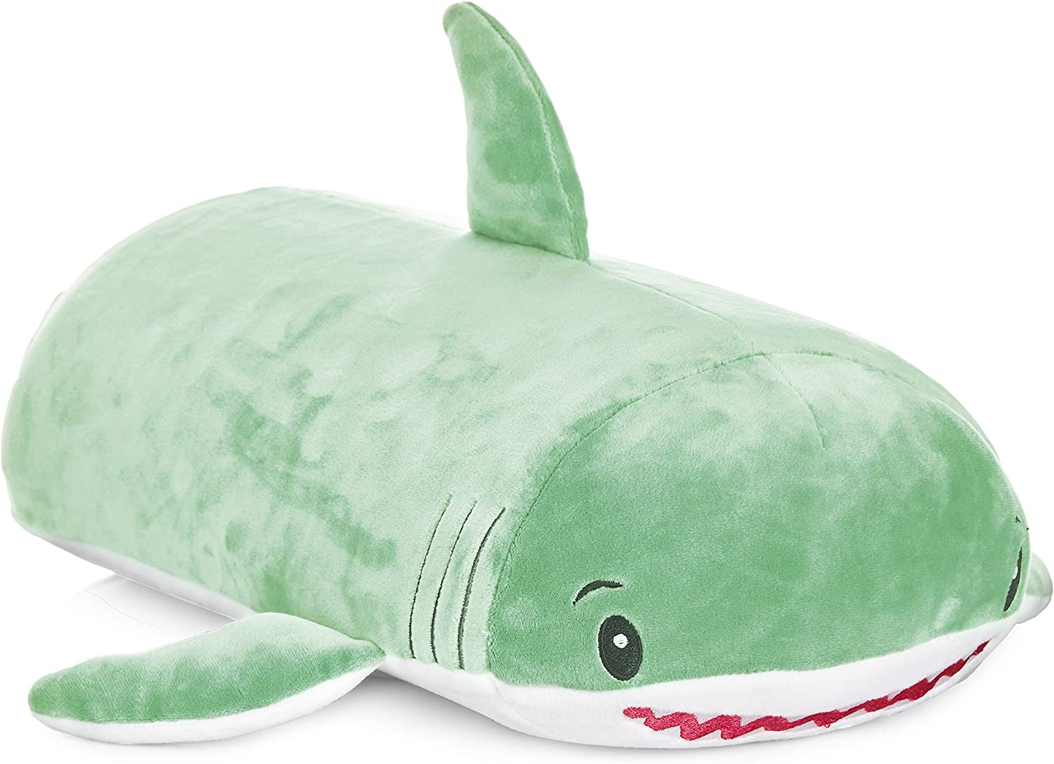 """MEMORY MATES Jake The Shark Memory Foam Pillow Plush with Kids Diary That Stores in Belly Pocket 6 Journal 15/"""" Stuffed Animal"""