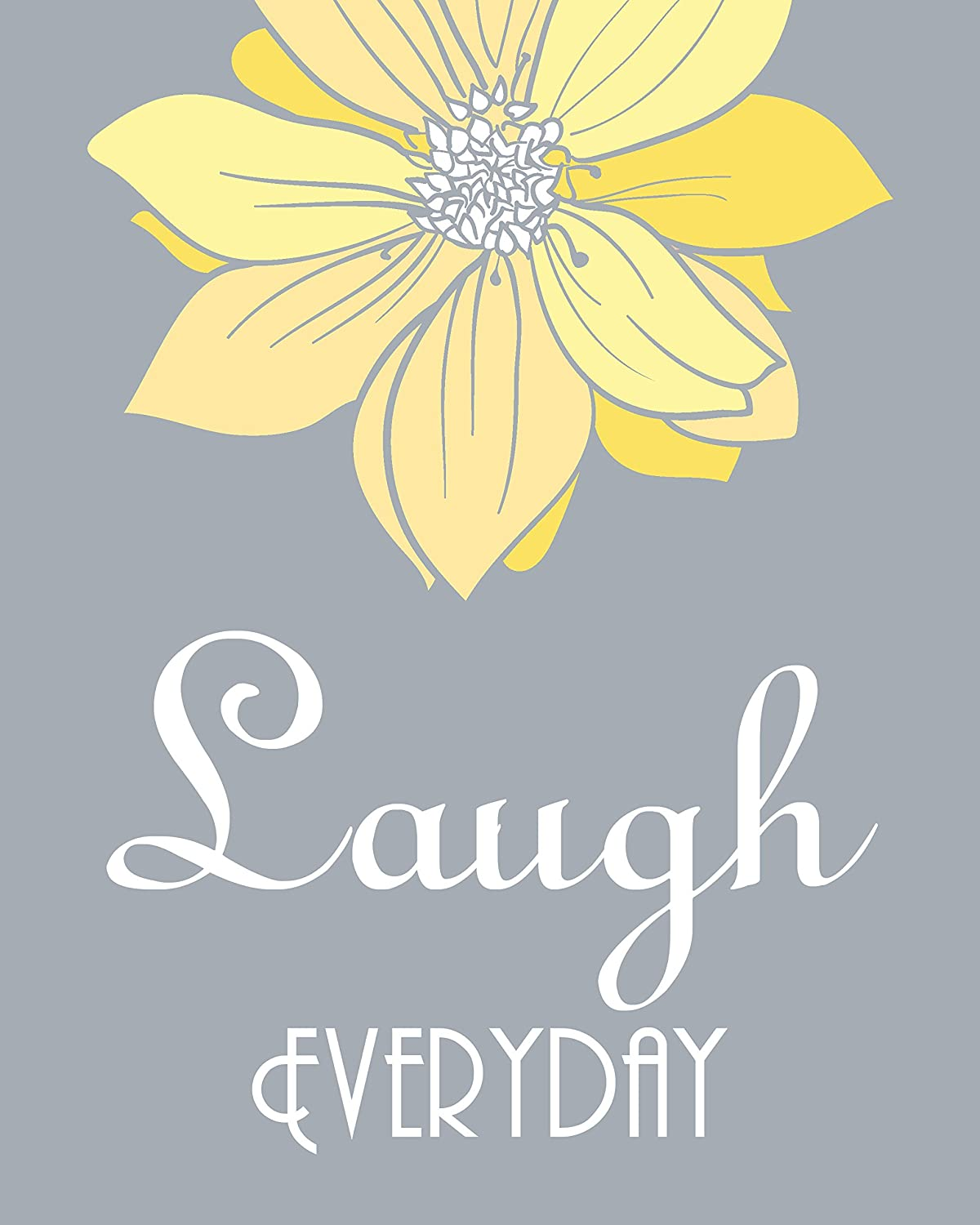 Amazon.com: Live Laugh Love Yellow and Gray Wall Art Set of 3 5x7 or ...