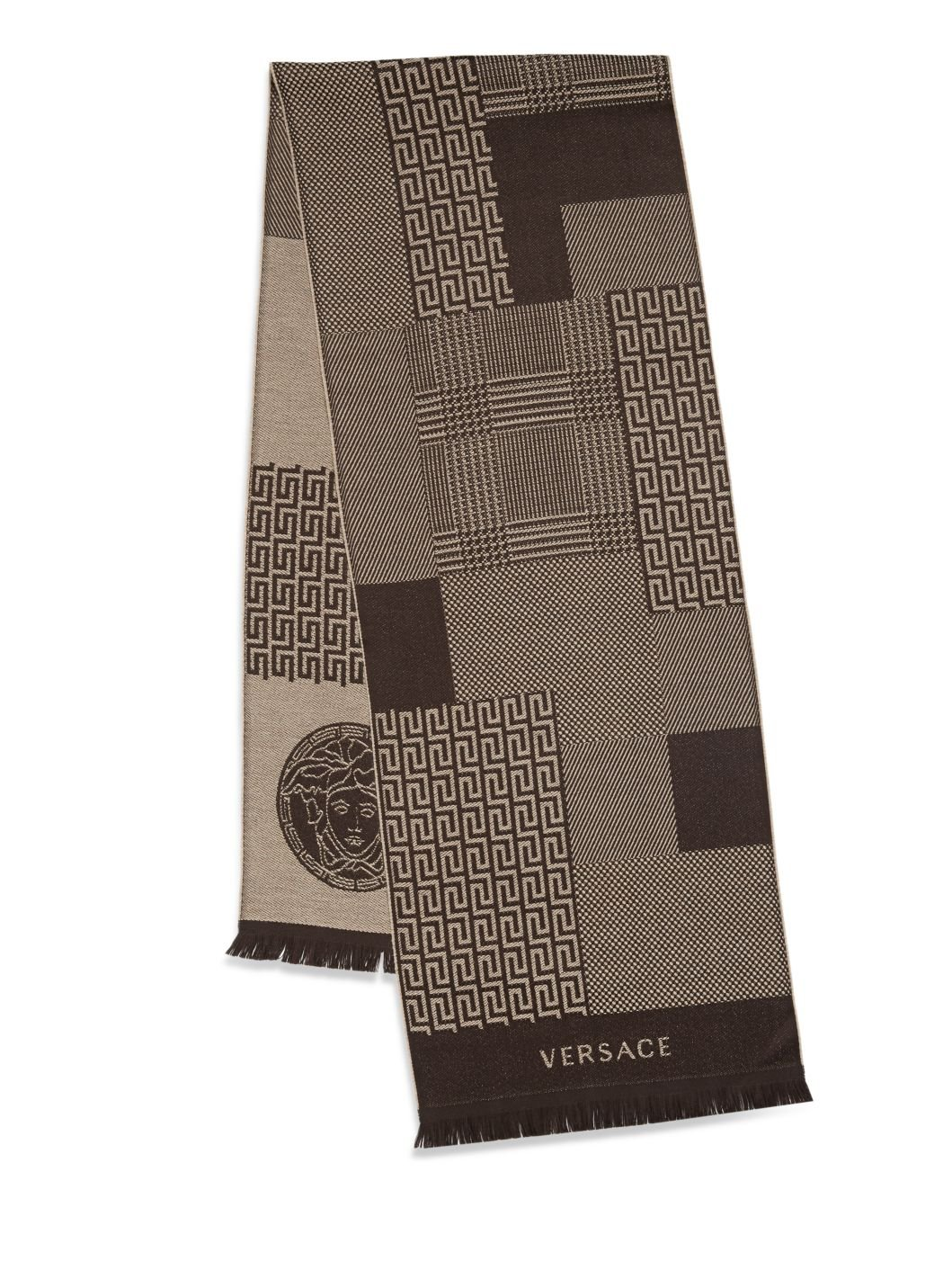 Versace Men's Paneled Multi-Pattern Wool Scarf (Marrone)