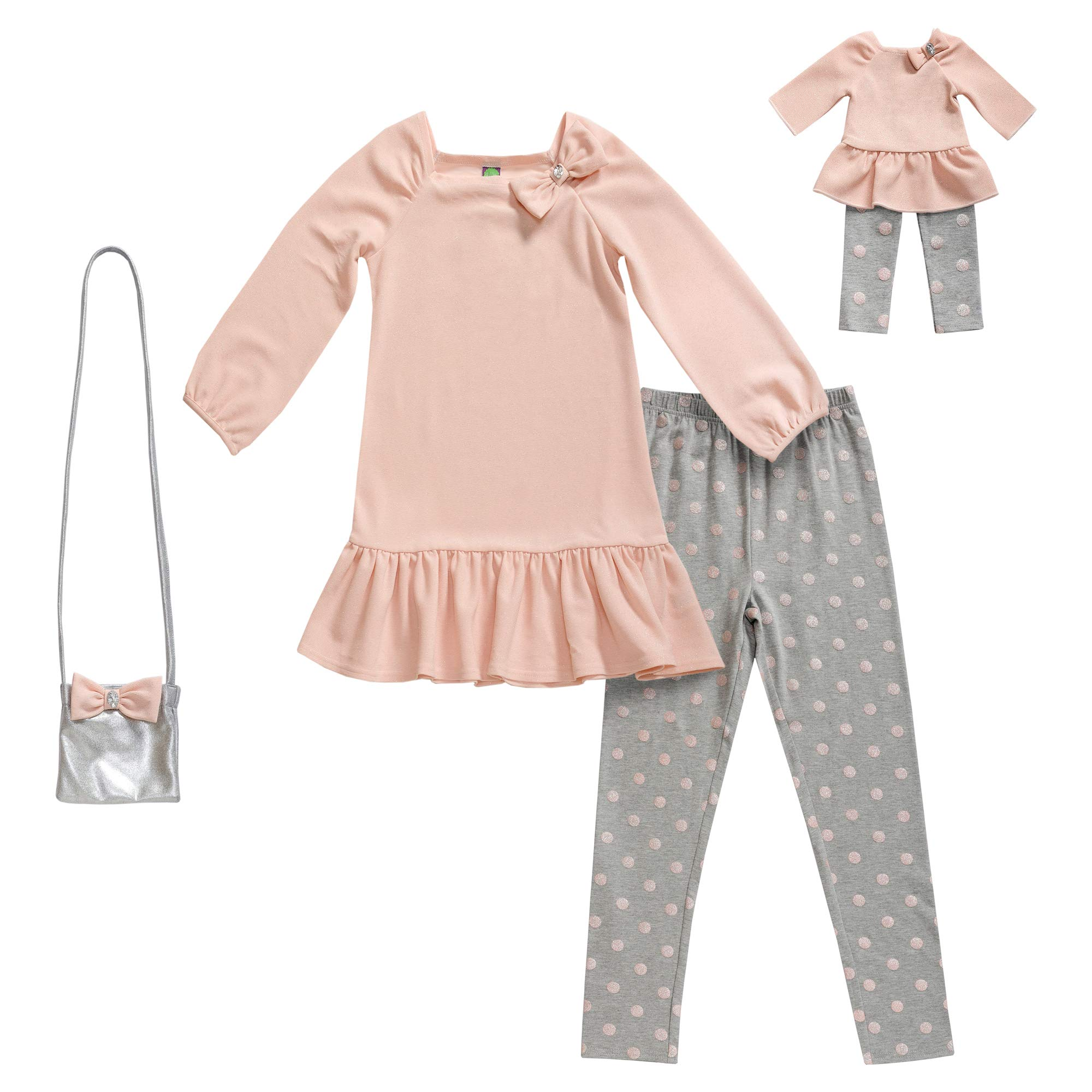 Dollie & Me Girls' Apparel Knit Legging Set with Matching Doll Outfit in, Pink, Size 7 by Dollie & Me