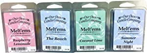 Our Own Candle Company Premium Wax Melt, The Beach, Coconut Lime, Himalayan Sea Salt, and Raspberry Lemonade, Summer Variety Pack, 6 Cubes, 2.4 oz (4 Pack)