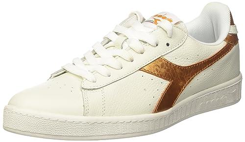 DIADORA IN PELLE BIANCO/Oro Sneaker Uomo Taglia 5
