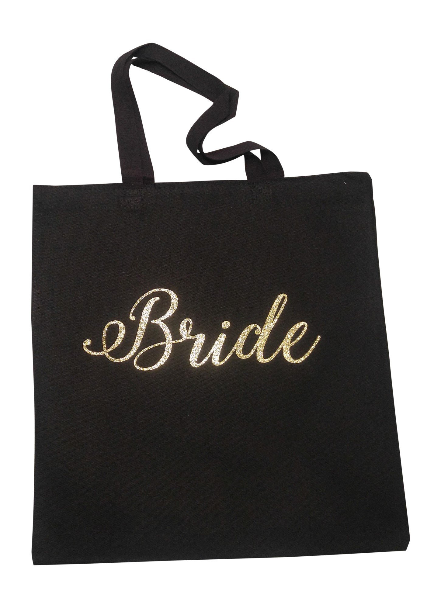 The Spoiled Office Wedding Party Bridal Tote Bag with Gold Lettering - Heavyweight, Large Canvas 15'' x 16'' (Bride in Black)
