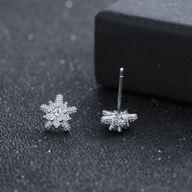 ZENI 925 Sterling Silver Stud Earrings 3A Cubic Zirconia Special Starfish Star Women Earrings 8.5mm