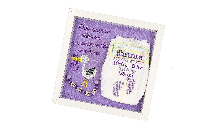 ♥ Windelrahmen bestickt mit Geburtsdaten des Kindes/Uni (Name/Geburtsgeschenk / Taufgeschenk/Windel im Rahmen) ♥