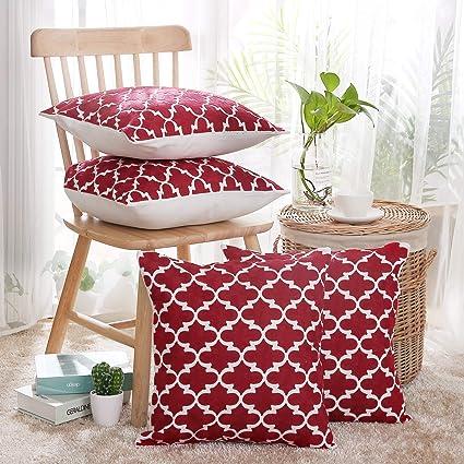 Deconovo Fundas de Cojines Decorativas 100% Algodón Bordadas con Marroquíes Juego de 4 Piezas para Sofas Sillas con Cremallera Oculta 45 x 45 cm Rojo