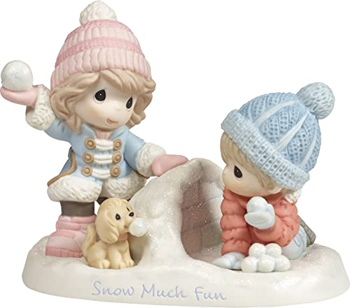 Precious Moments Much Fun Boy and Girl Playing in The Snow Figurine, Multicolor