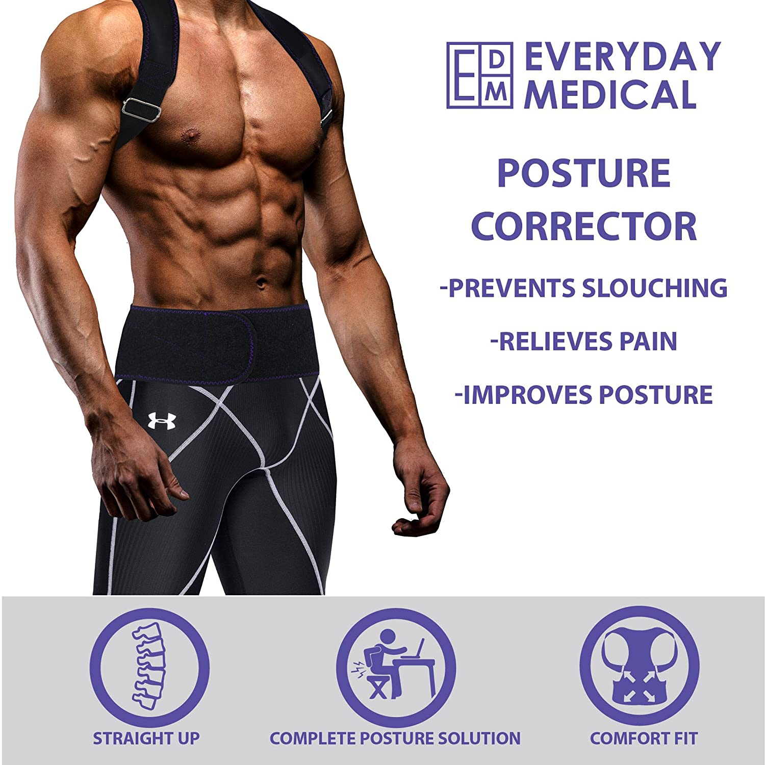 Amazon.com: Everyday Medical Posture Corrector Brace for Men and Women l Best Fitting Orthopedic Back Brace l 2-in-1 Lumbar Support | Tested on Over 35K ...