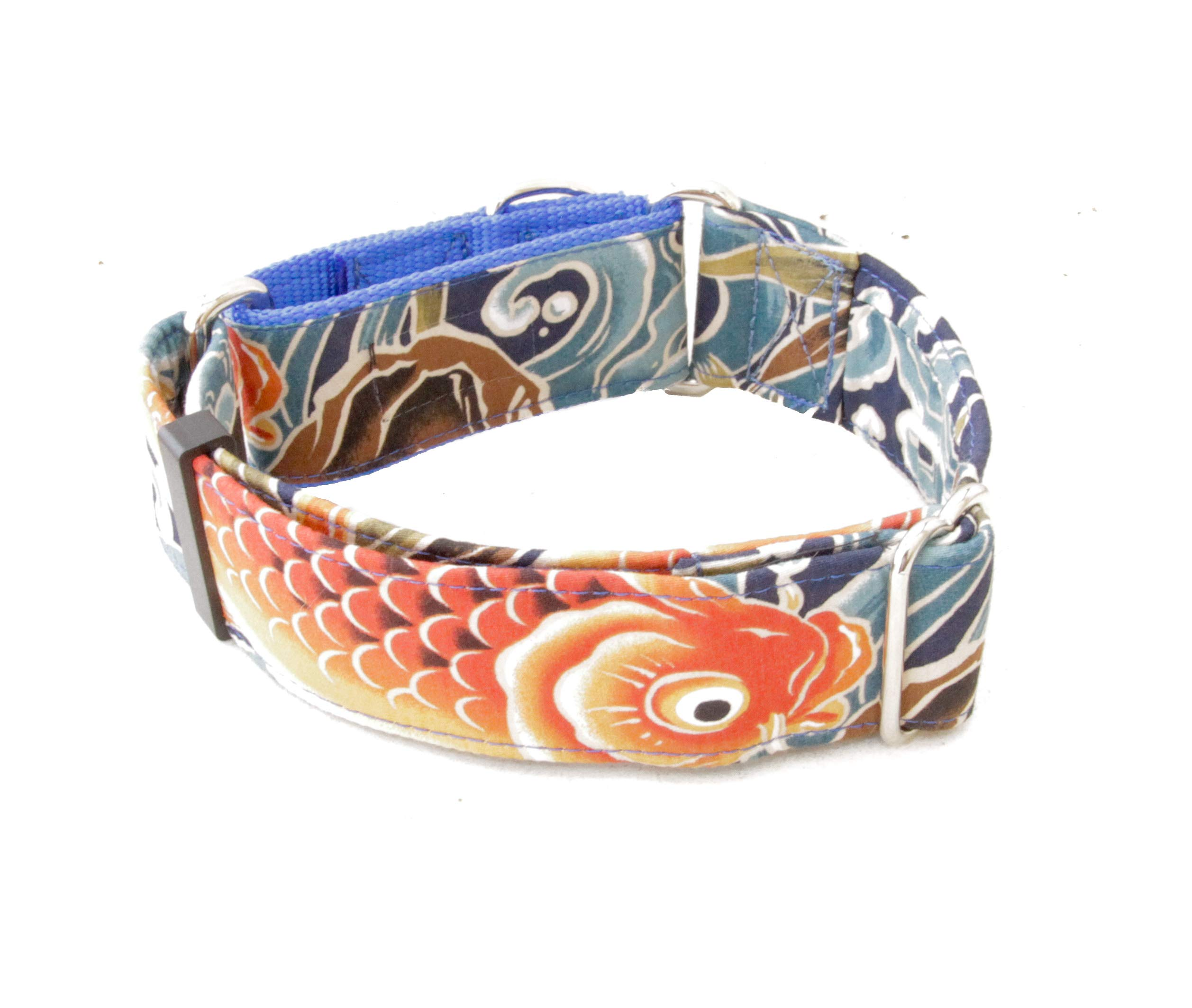 Caninus Collars Dog Collar - Koi Ocean Blue - 1.5'' - 2'' Widths - Buckle & Martingale (Martingale, M 1.5'')
