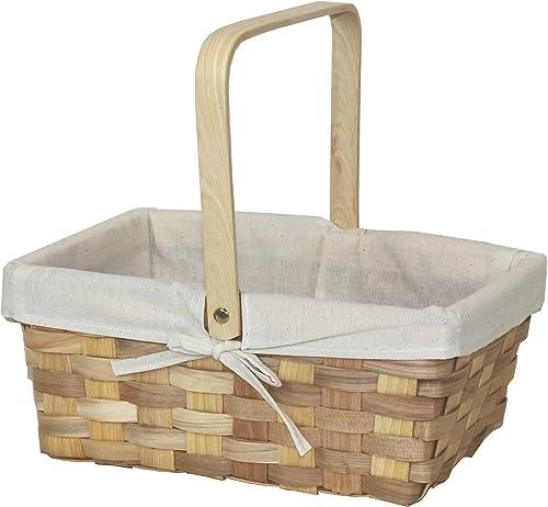 Vintiquewise QI003228 Woodchip Picnic Basket Lined