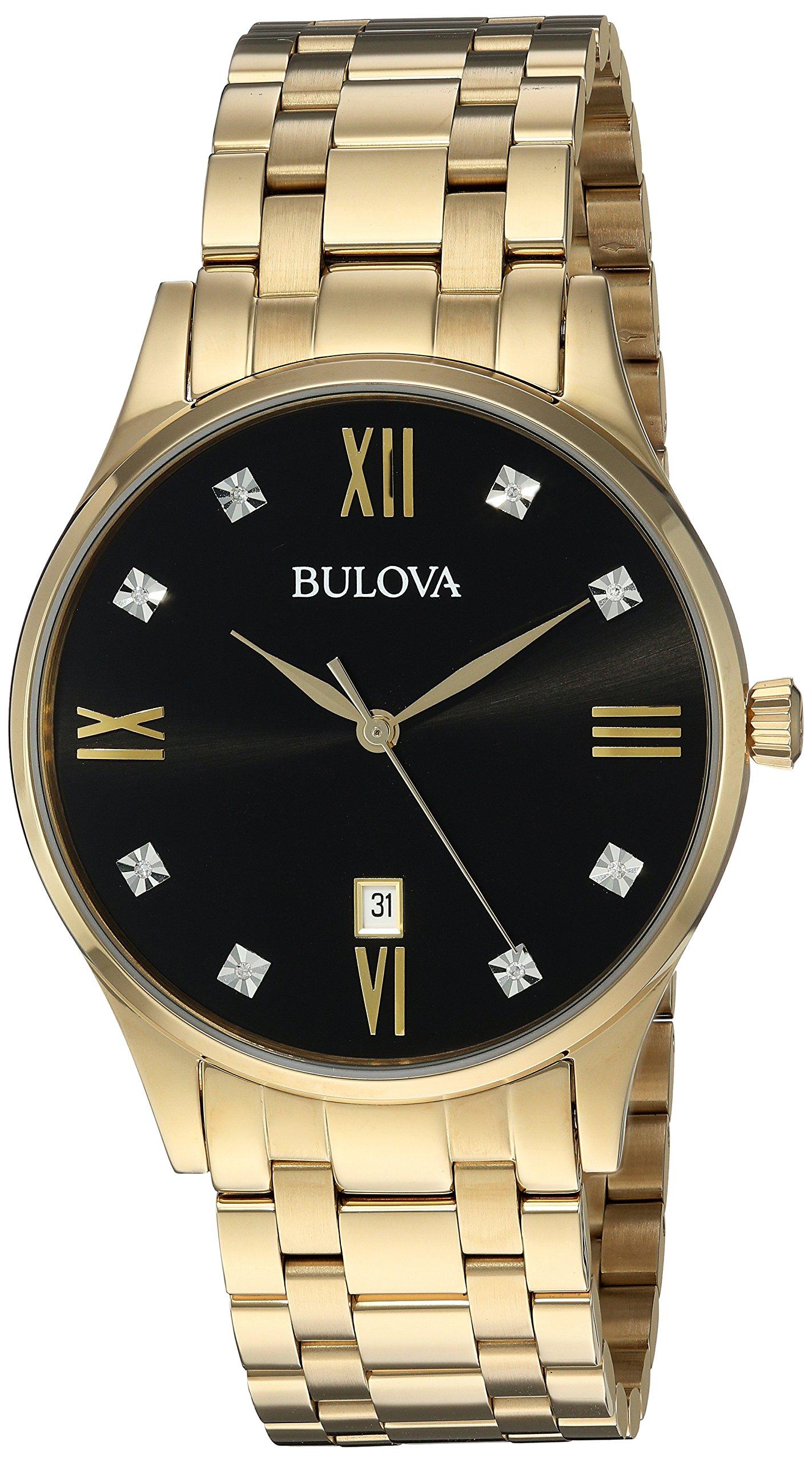 Bulova Men's Quartz Stainless Steel Dress Watch, Color:Gold-Toned (Model: 97D108) by Bulova