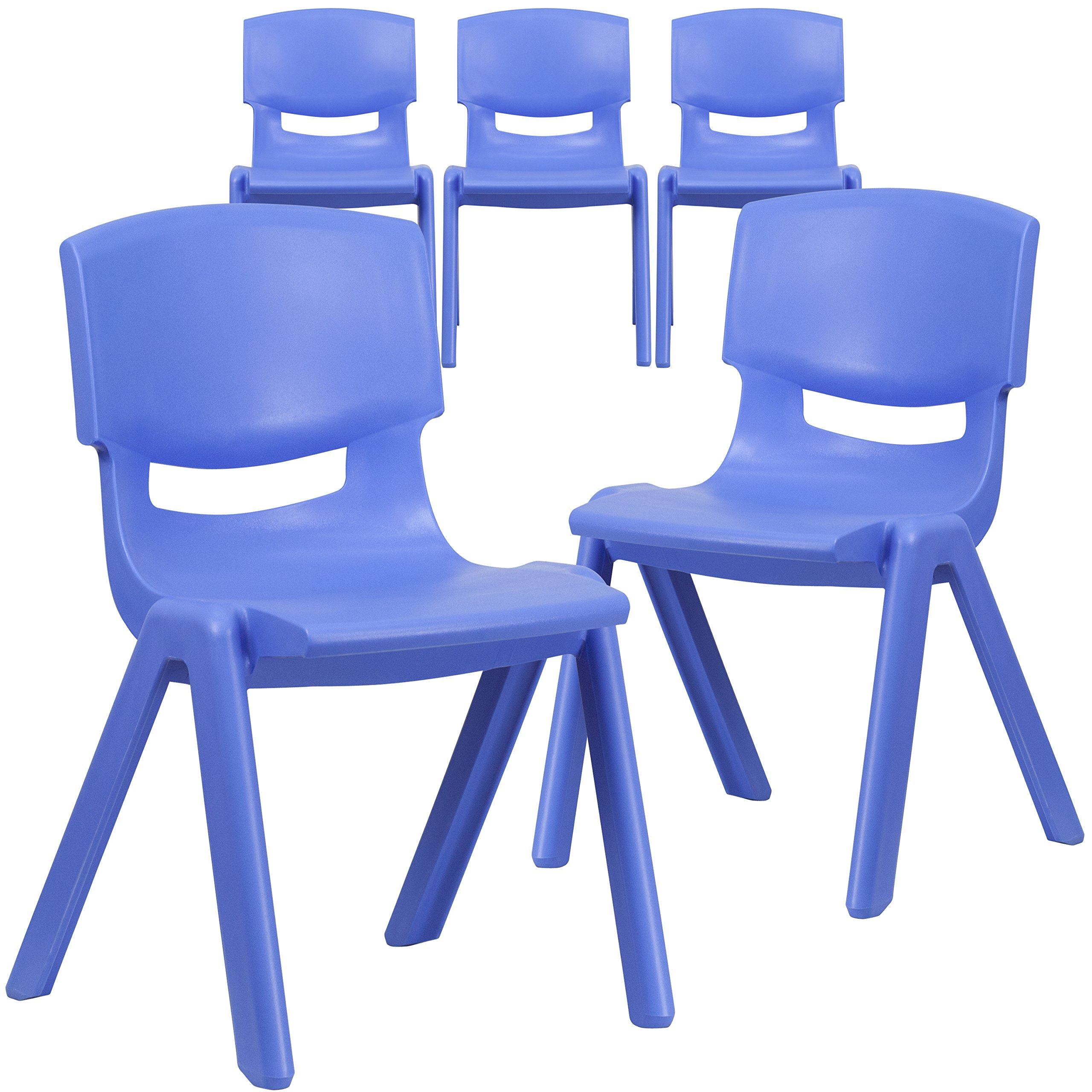 Flash Furniture 5 Pk. Blue Plastic Stackable School Chair with 15.5'' Seat Height