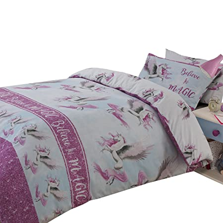 Copripiumino Singolo Rosa.Dreamscene Flying Unicorn Set Copripiumino Singolo Colore Rosa