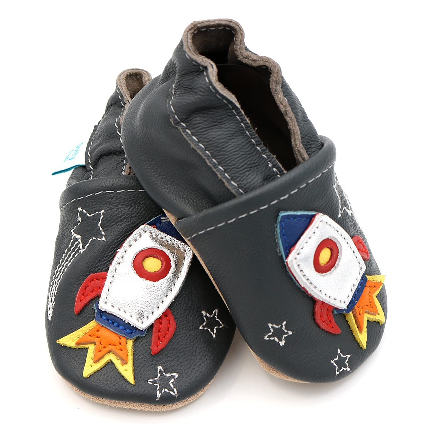 Space and Anchor Designs for Boys Toddler Shoes. Dotty Fish Soft Leather Baby Shoes Non-Slip Suede Soles Cars 0-6 Months to 4-5 Years