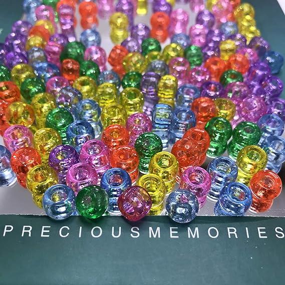100 pcs plastic acrylic beads pony poney 8 colors option
