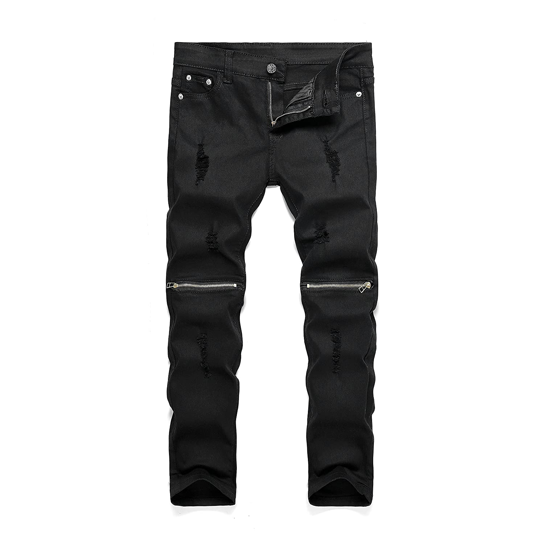 Amazon.com: Boy's Slim Fit Skinny Ripped Distressed Zipper Jeans ...
