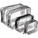4 Piezas de Bolsa de Aseo Portátil con Cremallera Bolsa de PVC Transparente Bolsa de Maquillaje Cosméticos Organizador Impermeable, Multi-tamaños (Pequeño, Medium, Grande)