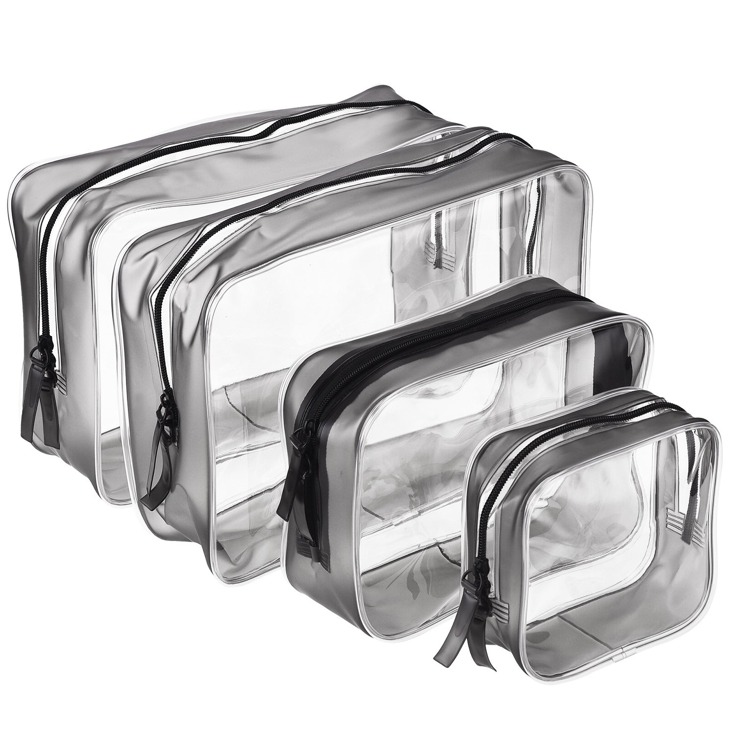 4 Pieces Clear PVC Zippered Toiletry Carry Pouch Waterproof Cosmetic Makeup Bag Toiletry Organizer Case, Multi-Sizes (Small, Medium, Large)