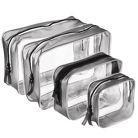 4f958f0d3 4 Piezas de Bolsa de Aseo Portátil con Cremallera Bolsa de PVC Transparente  Bolsa de Maquillaje
