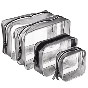 bc10c79c3bbc Amazon.com   Pangda 4 Pieces Clear PVC Zippered Toiletry Carry Pouch  Waterproof Cosmetic Makeup Bag Toiletry Organizer Case