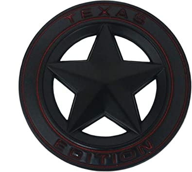 7.5CM//2.95 Black Metal Texas Edition Star Emblem Badge Sticker Decal for Jeep Wrangler