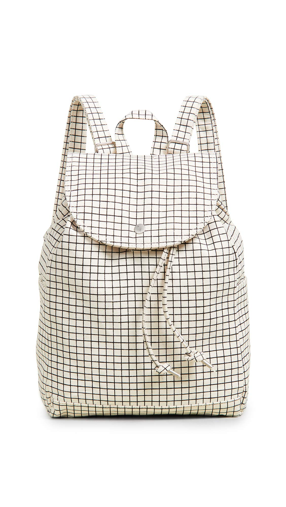 BAGGU Women's Drawstring Backpack, Natural Grid, Off White, Plaid, One Size