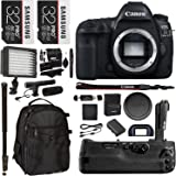 "Canon EOS 5D Mark IV DSLR Camera Body, 5D IV Camera Grip, 32GB 2 Pack, Microphone, Polaroid LED Video Light, 72"" Monopod, SLR Bag and Accessory Bundle"
