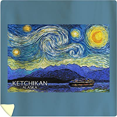 Lantern Press Ketchikan, Alaska - Inside Passage - Starry Night (88x88 Queen Microfiber Duvet