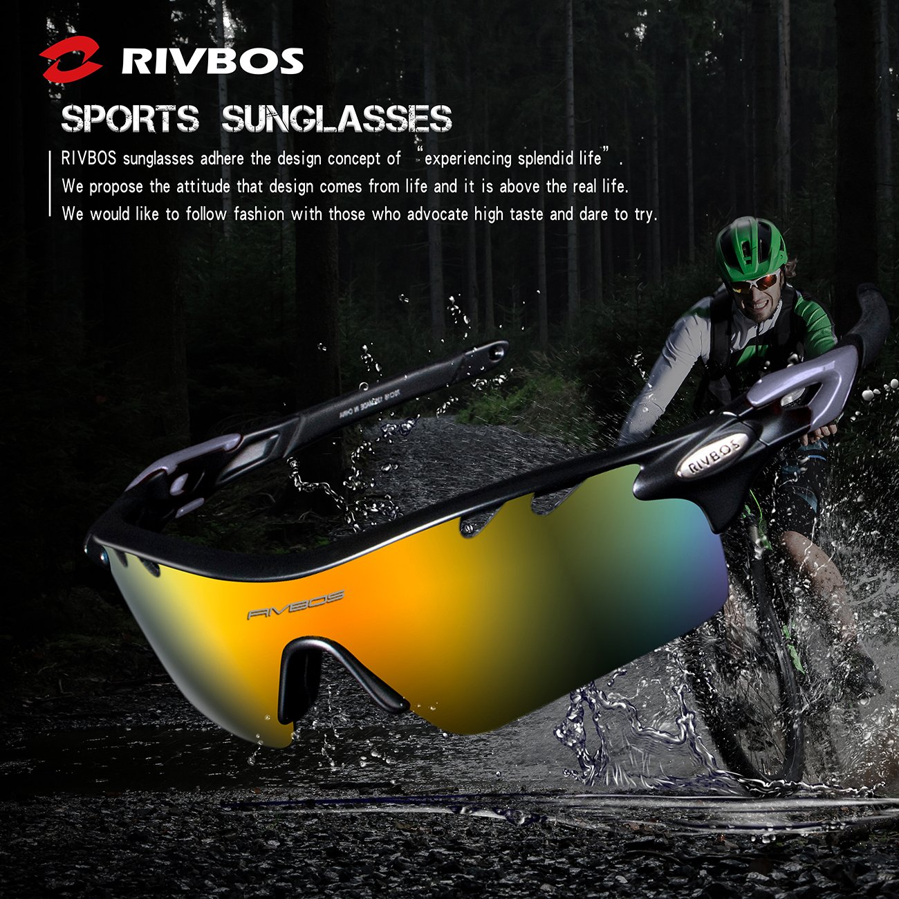 RIVBOS 801 Polarized Sports Sunglasses Sun Glasses with 5 Interchangeable Lenses for Men Women Baseball Cycling Runing /…