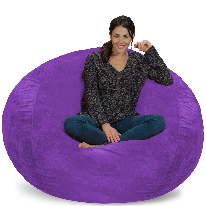 Chill Sack Bean Bag Chair: Giant 5' Memory Foam Furniture Bean Bag - Big Sofa with Soft Micro Fiber Cover - Purple Furry