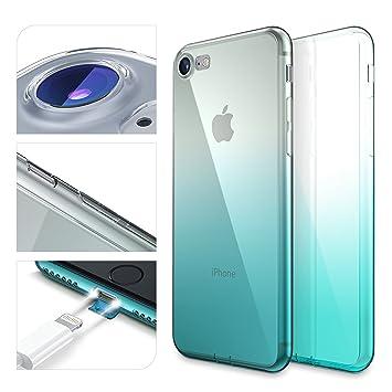 Urcover Funda iPhone 7/8, Arcoiris Smartphone Móvil Cubierta Flexible Anticaída Apple iPhone 7/8 Carcasa Bumper Azul Claro Degradado