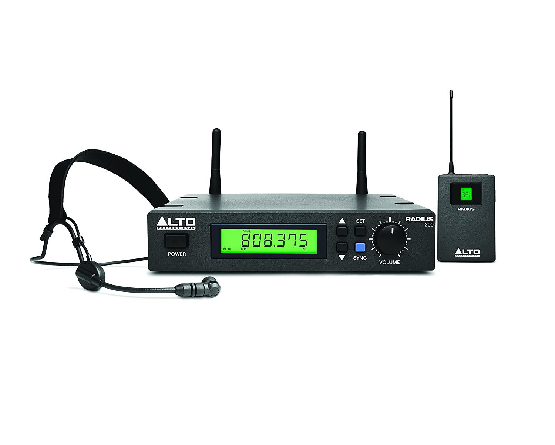 Alto Professional Radius 200H True Diversity Receiver, Head Set Microphone and Wireless Belt-Pack Transmitter