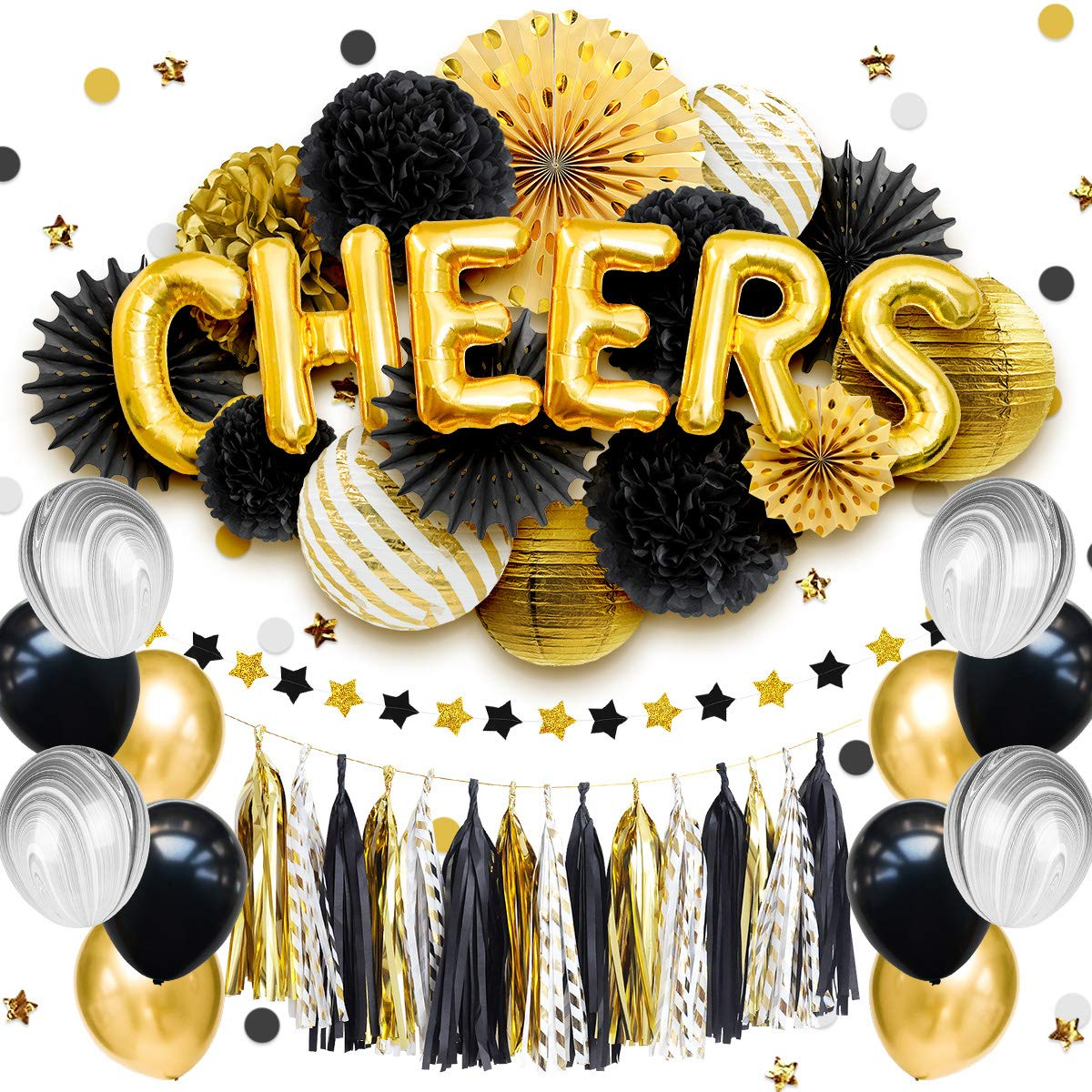 NICROLANDEE Black and Gold Party Decorations - CHEERS Foil Letter Balloon Tissue Pom Poms Gold White Stripe Lanterns Hollow Paper Fans Tassel Garland for Cheer to 21st 30th 40th 50th 60th Birthday