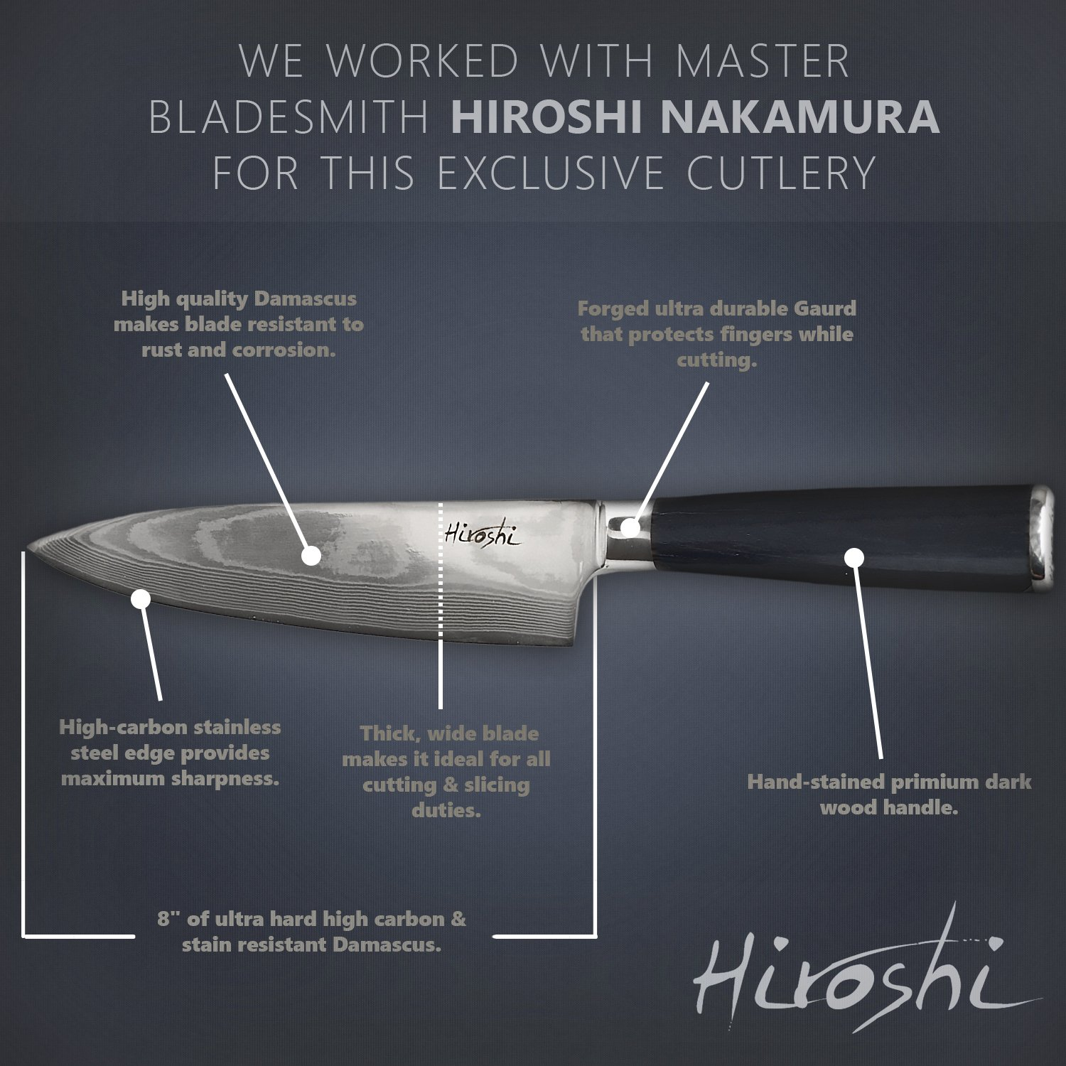 Premium Sushi & Sashimi Chef's Knife – 8'' Ultra High Carbon Damascus Steel – Presented In A Beautiful Gift Box (Black Handle) by HIROSHI (Image #8)